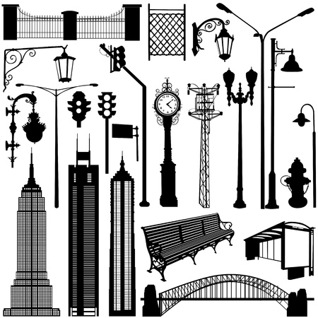 city objects great set Stock Vector - 9316309