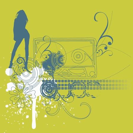 music girl background Vector