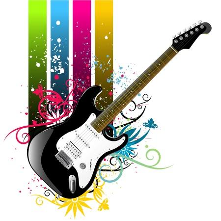 resonancia: vector de guitarra de grunge floral  Vectores