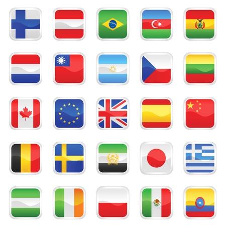 czech flag: set di vettore di bandiere Vettoriali