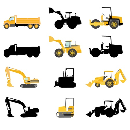 wheeled tractor: construction machines vector  Illustration