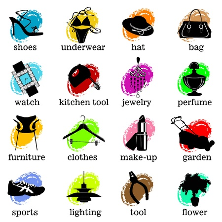 web site category icons vector Vector