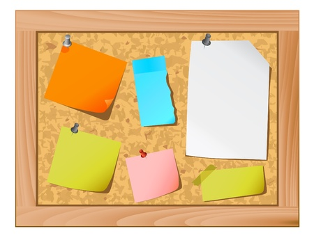 pin board: cork board and note paper vector