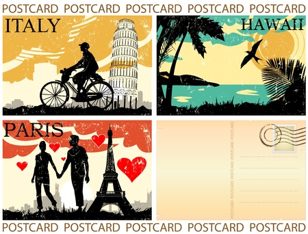 italy landscape: postcard great set vector