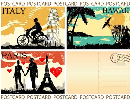 postcard great set vector