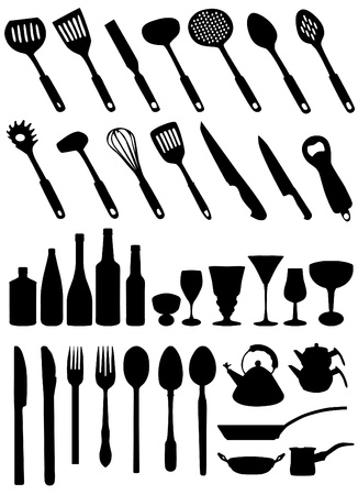cooking recipe: set of kitchen tools vector