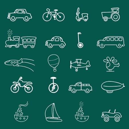transportation symbols (chalkboard style)  Vector