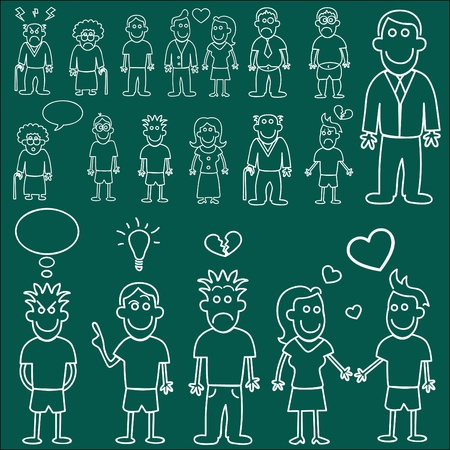 people characters (chalkboard style) Stock Vector - 9345609