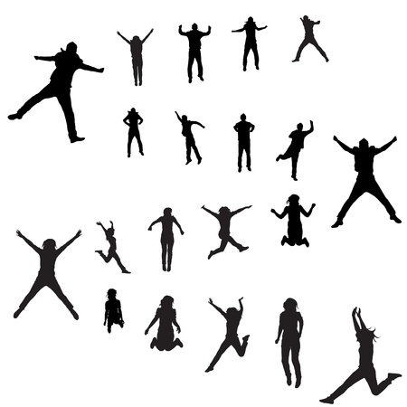 man in air: jumping people set Illustration