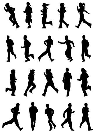 man shadow:  running people set vector  Illustration
