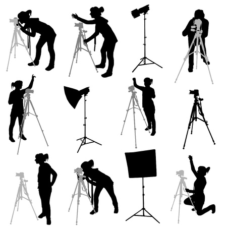 photographer silhouettes Stock Vector - 9345662