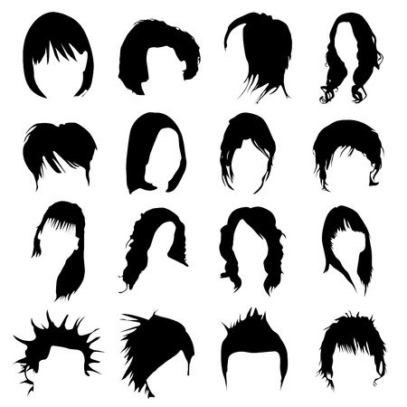 hair design vector (women and men)  Stock Vector - 9345655