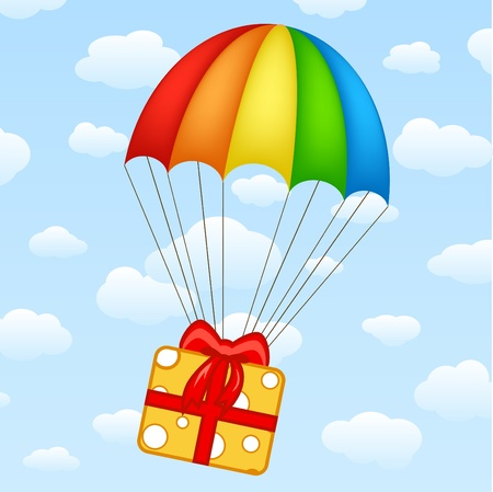 red gift box: gifts on parachutes (you can use it as banner)