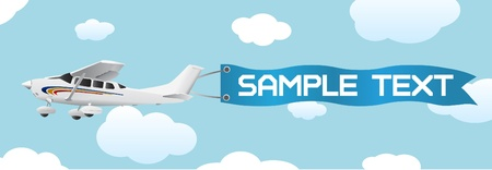 replica: plane with blank banner vector