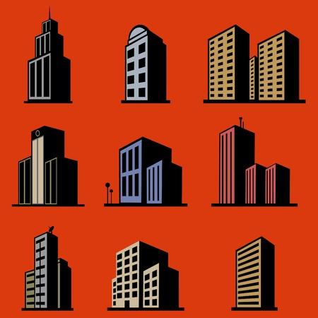 tall buildings: modern building vector set Illustration