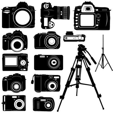 electronic survey: dijital photo camera and tripod vector  Illustration