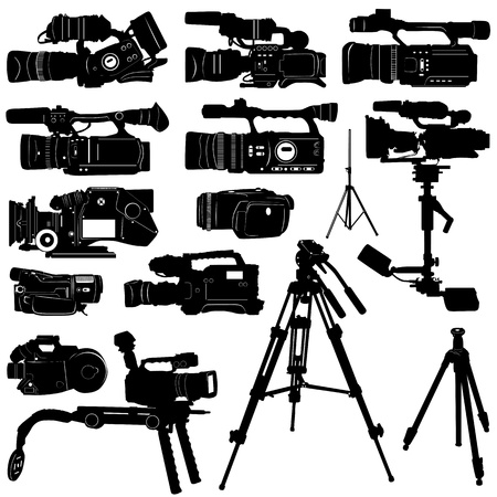 electronic survey: camera and tripod vector