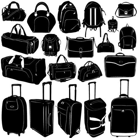 maleta: vector de la maleta y bolsas de viaje  Vectores