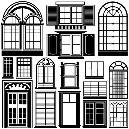 architectural styles: window vector