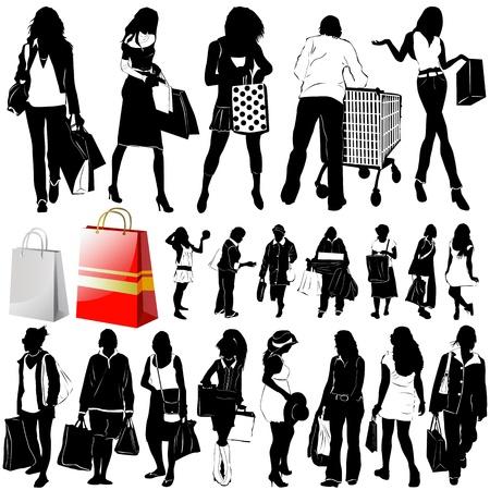 vector de mujeres compras (detalle de ropa)