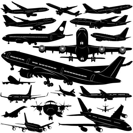 commercial airline: airplane collection vector (window detail)  Illustration
