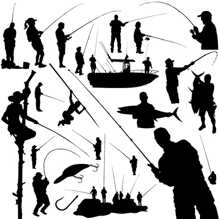 hengelsport: vissers en de visserij apparatuur vector