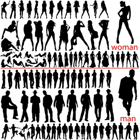 100 fashion people, women and men  Stock Vector - 9401805