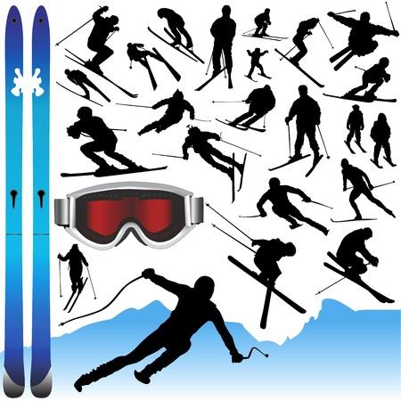 verzameling ski's en uitrusting