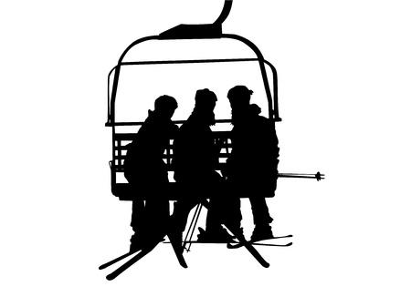 skilift en mensen  Vector Illustratie