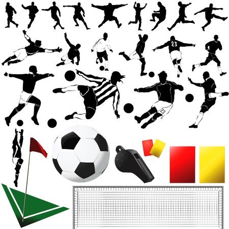 corner kick: soccer and equipments (clothes detail)  Illustration