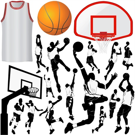 basketball hoop: basketball and equipments  (clothes detail)  Illustration