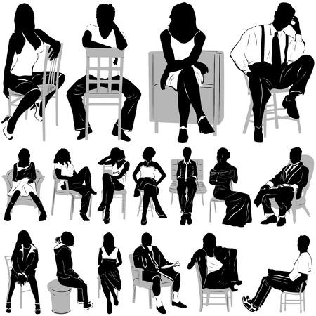 la gente: gente seduta  Vettoriali