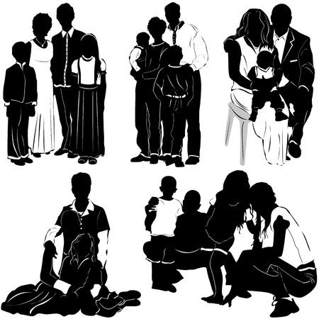 mums: family vector Illustration