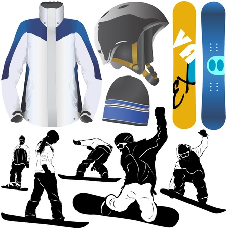 snowboard: collection of snowboard vector Illustration