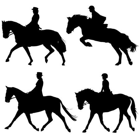 silueta ciclista: jinetes y caballos