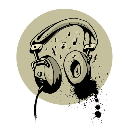 headphone drawing Stock Vector - 9401307