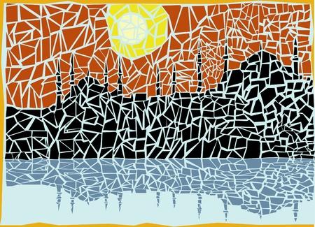 mosaic tile: mosaic city vector