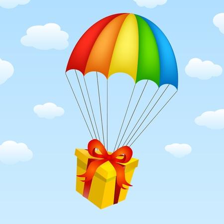 parachute: gifts on parachutes  Illustration