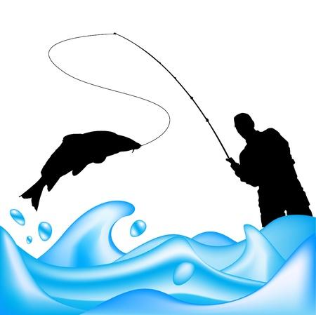 canna pesca: vettore di pescatore