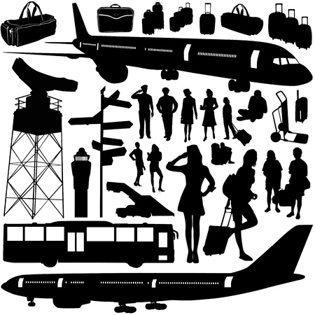 airline hostess: airport airplane set