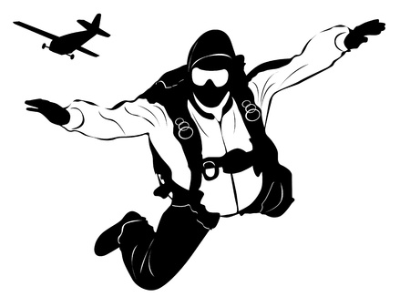 skydiving and plane  Vector