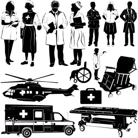 paciente en camilla: personas y equipos m�dicos