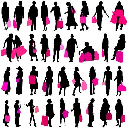 mujeres de compras  Ilustración de vector