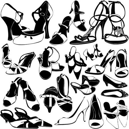 tacones negros: zapatos de mujer   Vectores