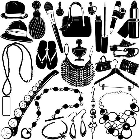 collectie van vrouwen accessoires  Vector Illustratie