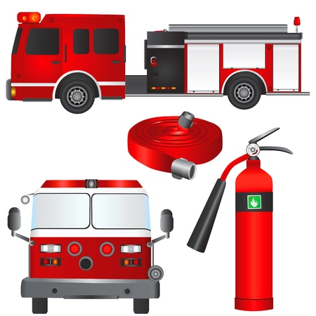 fireman car and equipments Stock Vector - 9447550