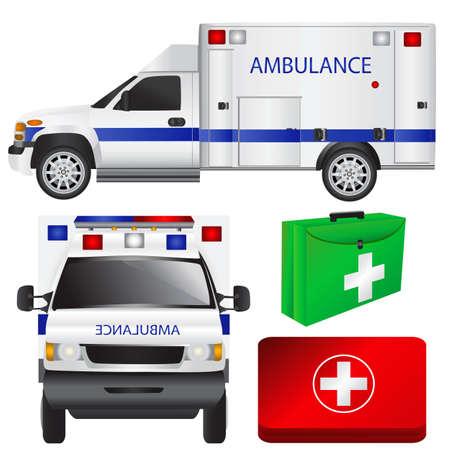 emergency vehicle: ambulanza e attrezzature  Vettoriali