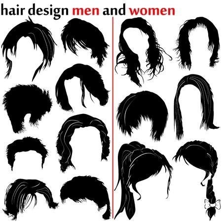 coupe de cheveux homme: conception de cheveux (hommes et femmes) Illustration
