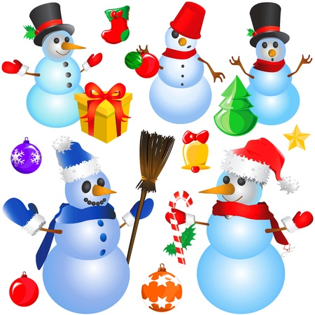 snowman christmas (decorative objects)  Vector