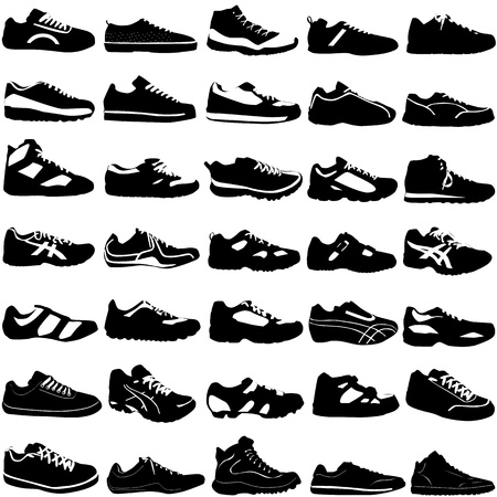 athletic symbol: shoes (fashion, sport, street, different style)  Illustration